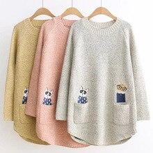 3 2 かわいい猫ポケットのためのレディース秋の冬のセーター 色