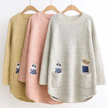 2 cute Cat pocket Long Sweater for ladys autumn winter sweater with 3 colours