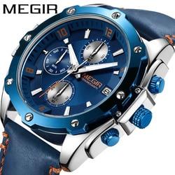 Chronograf Megir mężczyźni zegarek Relogio Masculino niebieski skórzany Sport zegarek na rękę mężczyźni zegar wodoodporny armia wojskowy mężczyźni męska zegarki na rękę