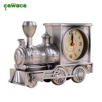 Pawaca Antique Locomotive Alarm Clock Europe Mechanical Train Needle Alarm Clock Home Office Desk Decoration For