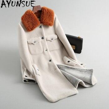 piel abrigo mujer de para piel de Real 2018 oveja abrigo AYUNSUE de BFnYgtx