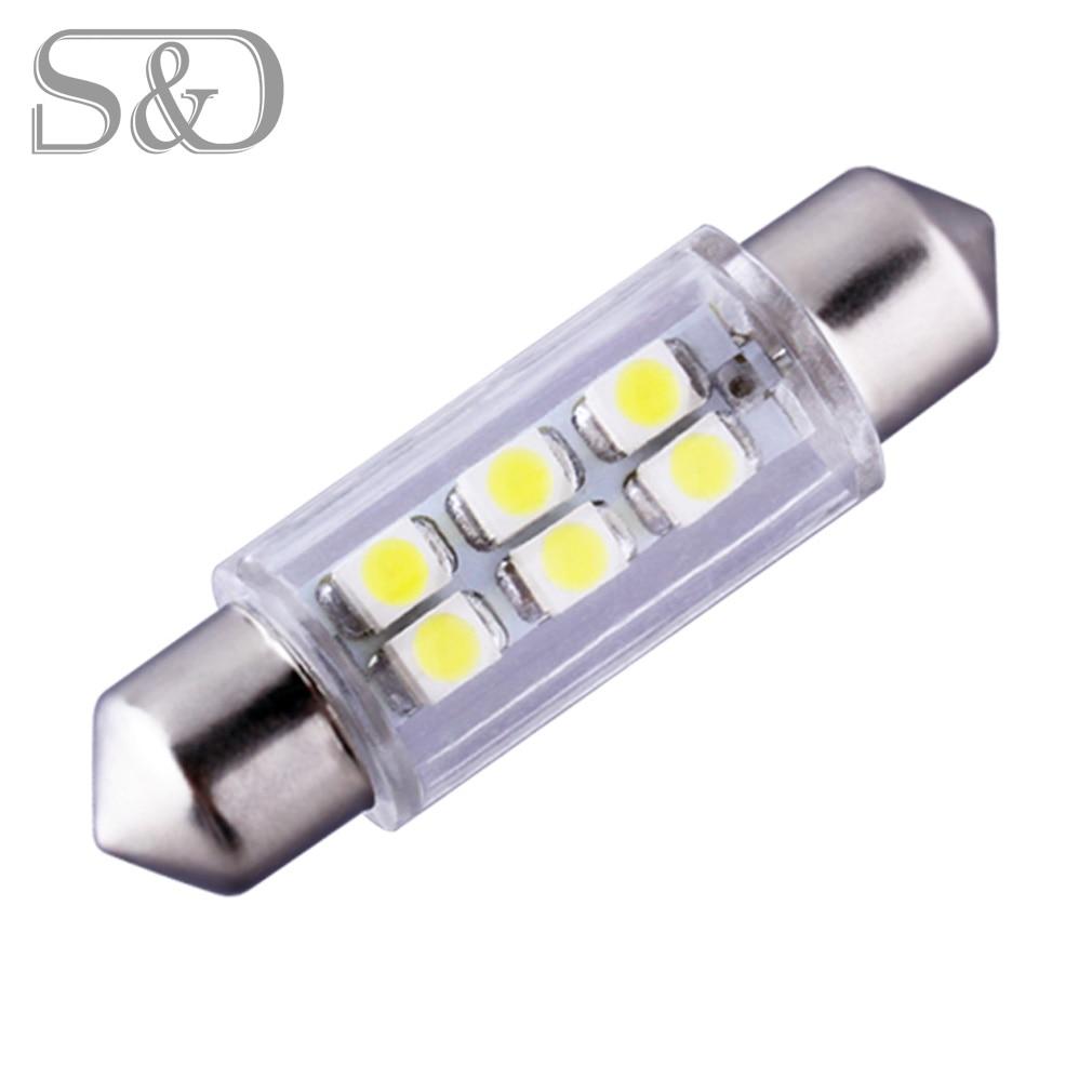 39mm 6 SMD Branco Dome Festoon LED Bulb Lamp estacionamento 12 V Auto lâmpadas c5w levou carro Luzes interiores Do Carro Luz fonte