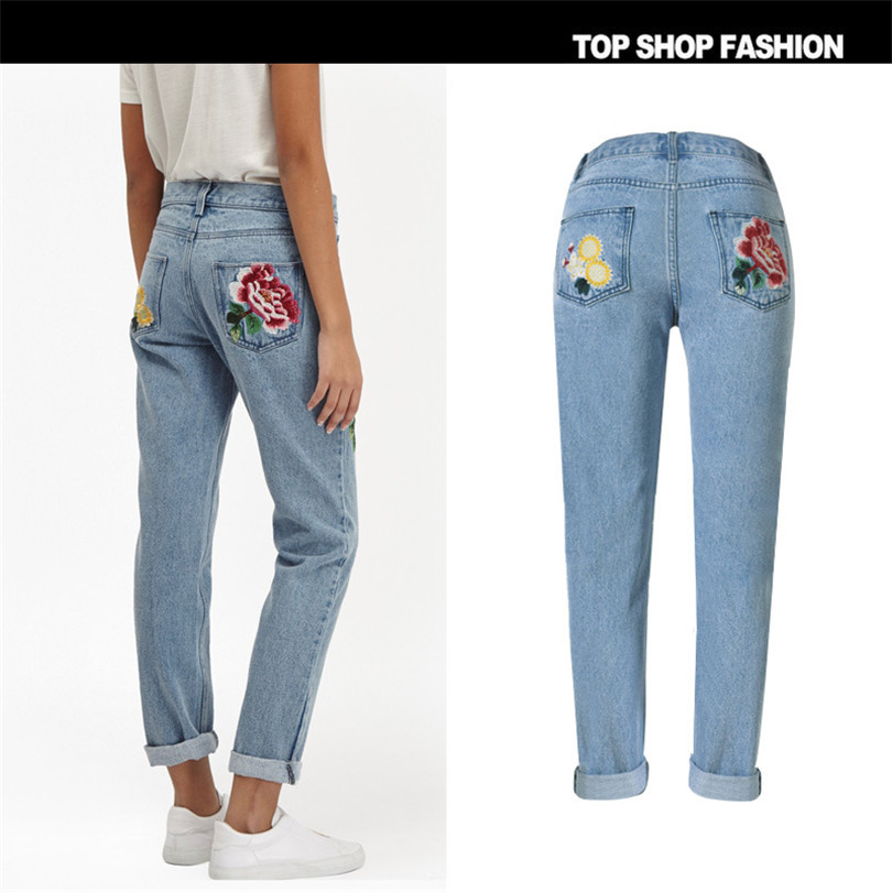 3D pastoral embroidery ladies rose Loose Jeans 3