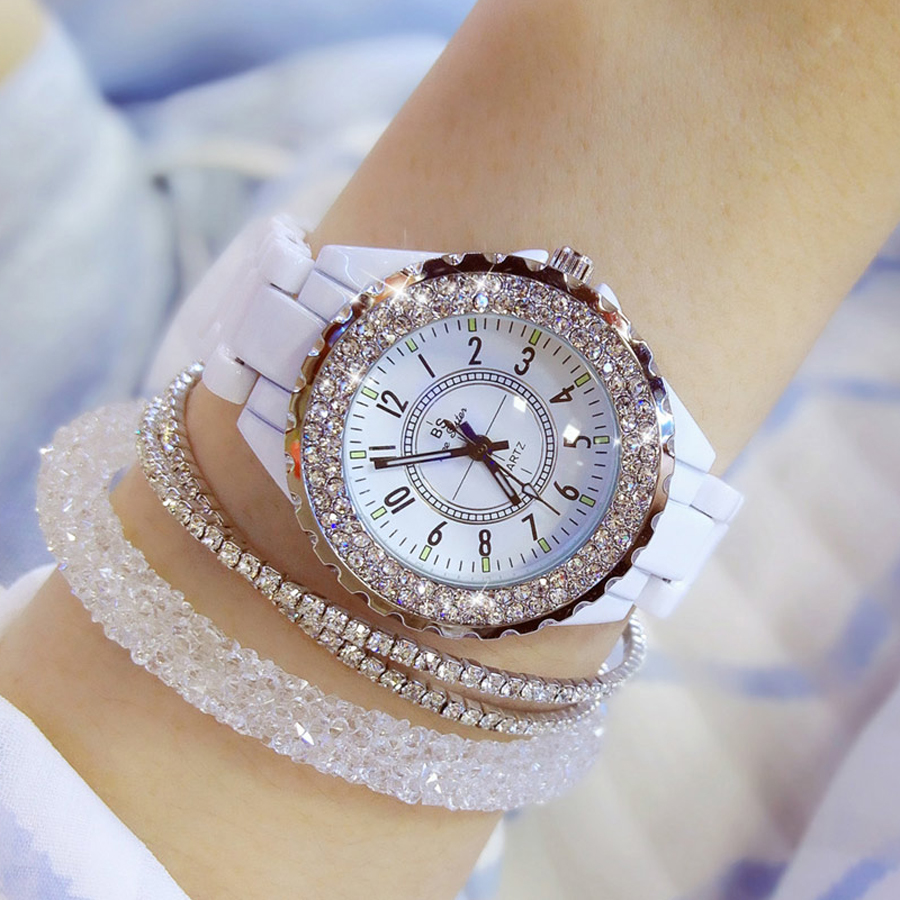 2018 top brand luxury wrist watch for women white ceramic band ladies watch quartz fashion women watches rhinestones black BS