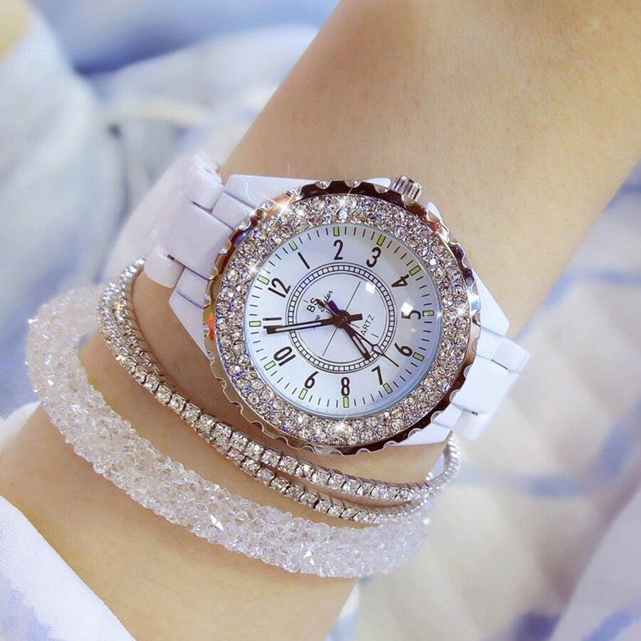 Reloj de pulsera de lujo de marca 2018 para mujer, banda de cerámica blanca, reloj de cuarzo para mujer, relojes de moda, diamantes de imitación, negro BS relojes modernos reloj mujer plateado 2019