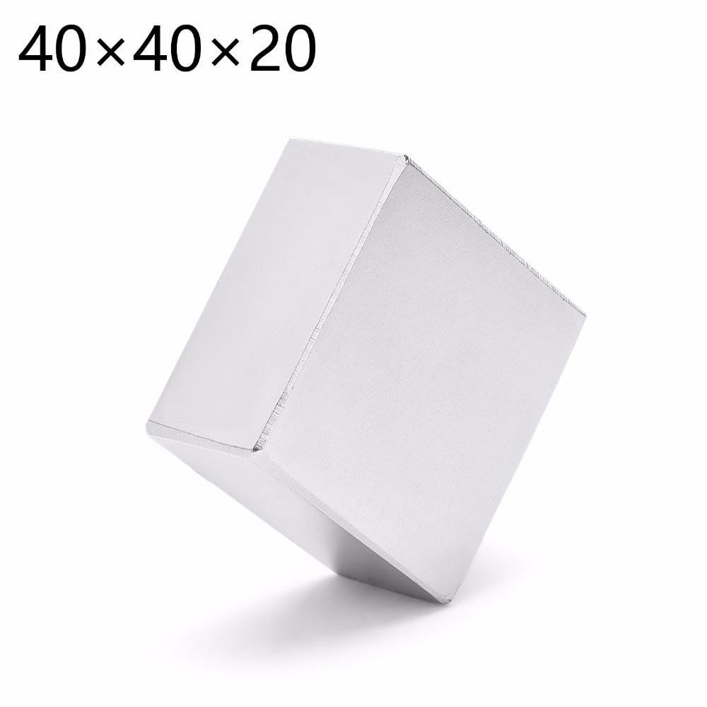 1 stück 40mm x 40mm x 20mm N52, Starken Rare Earth-Block NdFeB Magnet 40*40*20 40x40x20 Neodym Magnet