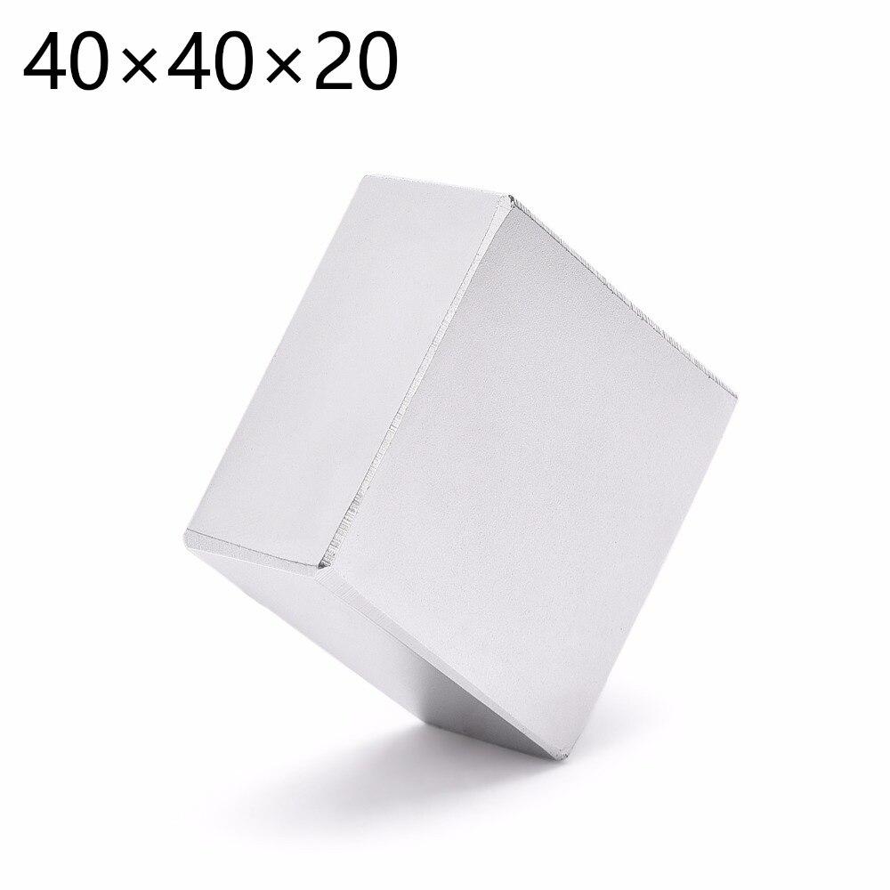 1 unid 40mm x 40mm x 20mm N52 tierra rara NdFeB imán bloque 40*40*20 40x40x20 imán de neodimio