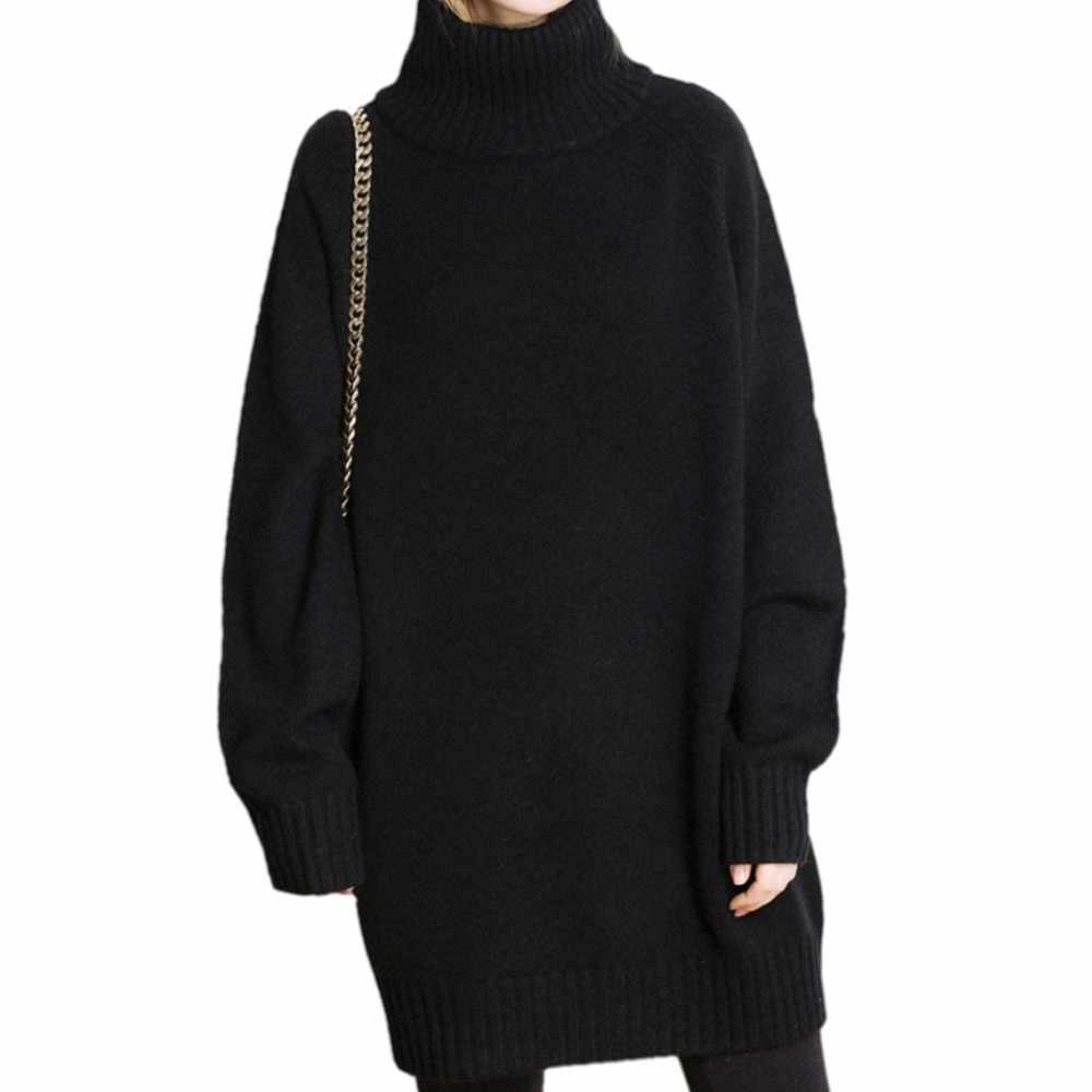 Kasmir Sweater Wanita Musim Gugur Musim Dingin Berleher Tinggi Tebal Panjang Ayat Liar Longgar Sweater Malas Ukuran Besar Merajut Bottomin Jumper