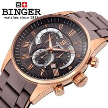 Switzerland men's watch luxury brand Wristwatches BINGER Quartz clock full stainless steel Chronograph Diver glowwatch BG-0407-6