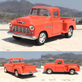 Brand New KINGSMART 1/32 Scale USA 1955 Chevy Stepside Pick-Up Diecast Metal Pull Back Car Model Toy For Gift/Collection/Kids