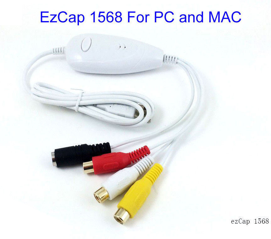 Original Ezcap1568 USB Grabber Captura Audio analógico de vídeo desde VHS, V8, Hi8, 8mm videocámara tv a digital, ajuste MAC OS y Win10 64
