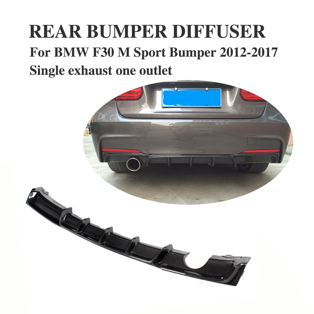 Carbon Firber / FRP Rear Bumper Diffuser Lip Spoiler For BMW F30 M Sport bumper Only 2012-2017 single exhaust single Outlet