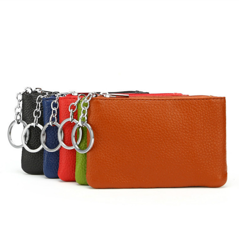 Genuine Leather Wallet For Women And Men Coin Purse Mini Keychains Small  Wallets With Key Ring Top Quality Real