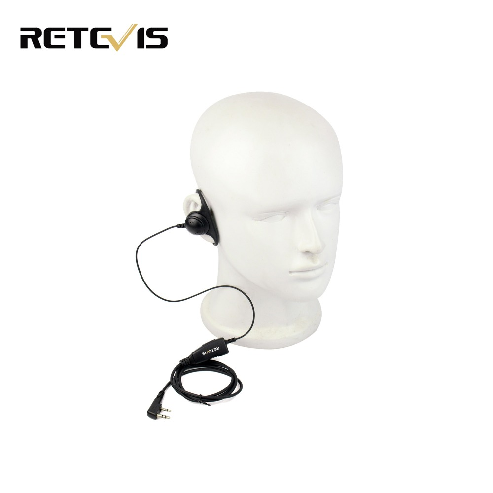 Walkie Talkie Accessories D Shape 2Pin Soft Ear Hook Headset PTT Mic For Kenwood Retevis H777 RT5 For Baofeng 888s UV5R C9031A