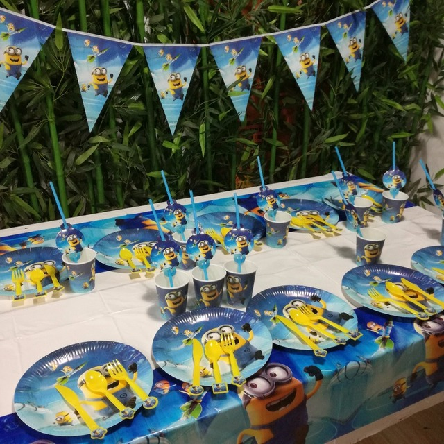 62pcs Minions Party Supplies Plate Cup Flags Tablecloth Straw Minion Birthday Decoration Shower Favor Set