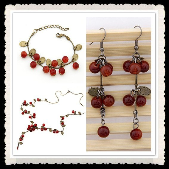 Christmas Gifts!Wholesale Fashion Korea Classical Design Vintage Beautiful Crabapple Necklace/Bracelet/Earrings Jewelry Set