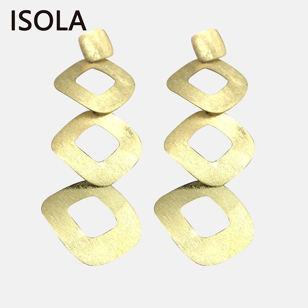 ISOLA Hollow Brushed Statement Minimalist Tiered Earrings Square Shape Stacked Earrings Simple Multilayered Drop Earring