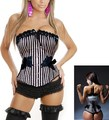 Promotion women steampunk bowknot striped Overbust  XXL Black and white langerie sexy plus size lingerie drop shipping