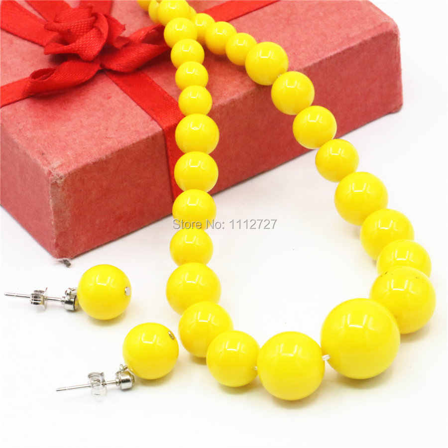 6-14mm Accessories Hallowmas Yellow Glass Lucky Beads Necklace Chain Earbob Earrings Sets DIY Women Girls Gifts Jewelry Making