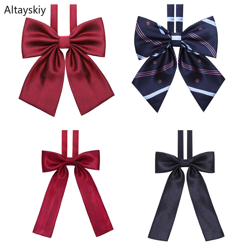 Ties Women Solid Striped Print Silky Womens Bows Tie All-match School Students Leisure Japanese Style Trendy Simple College Chic