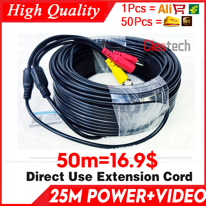 Wholesale 50m Video+Power Cod HD Copper Camera Extend Wires For CCTV DVR AHD Extension Extension With BNC+DC 2in1 Two In Cable