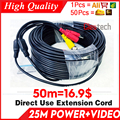 Оптовая продажа 50 м видео + Мощность cod HD медная камера расширение провода для CCTV DVR AHD расширение с BNC + DC 2в1 два в кабель