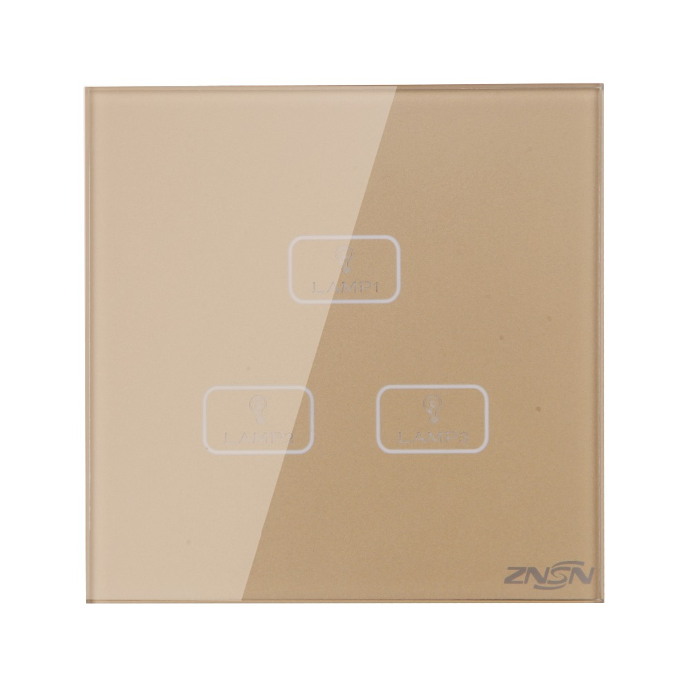 UK Standard Null and Live Line Gold 3 Gang 2 Way 86x86x37mm Luxury Crystal Glass Panel Wall Touch Switch suck uk