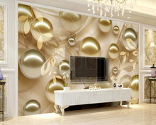 Beibehang Custom wallpaper golden pearl beautiful pattern stereo TV background home decoration living room bedroom 3d
