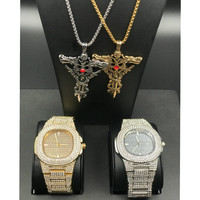 hip hop Diamond watch ice out egyptian key of life ankh cross & box chain 2 necklace bundle set Pendant necklace combo set