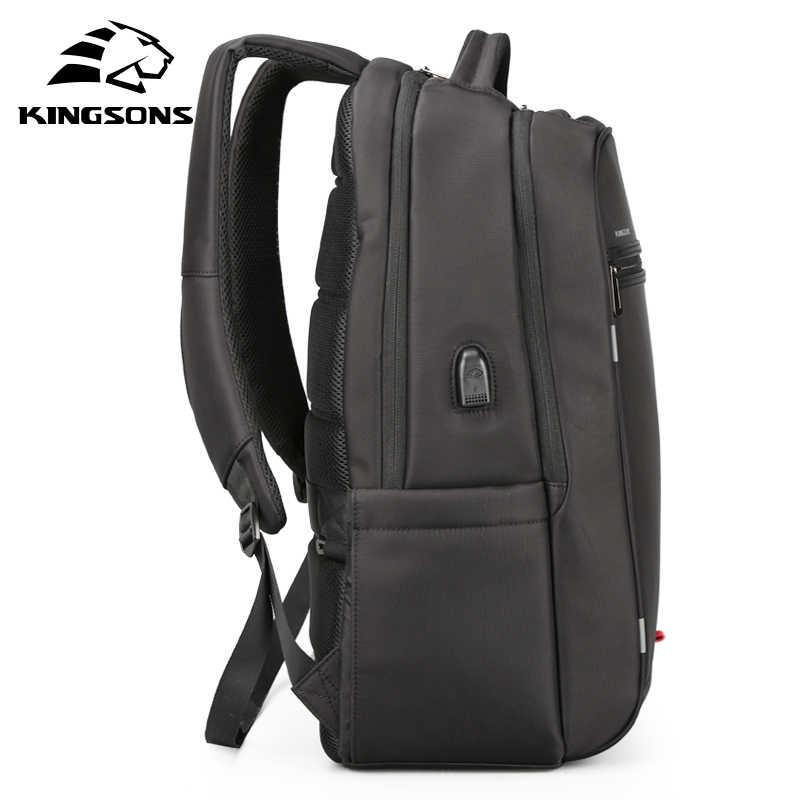 Kingsons multifunction carregamento usb dos homens 17 polegada mochilas para adolescente moda masculina lazer mochila de viagem