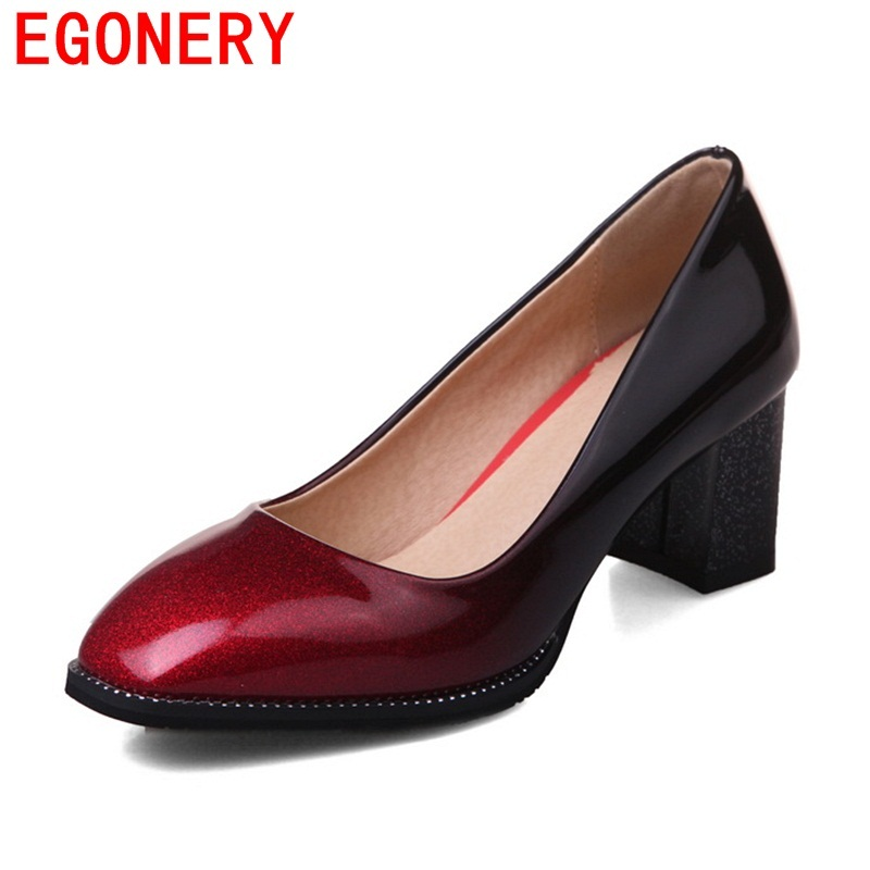 EGONERY fashion dress shoes pumps women high heel patent leather spring mature footwear plus size 32-44 square toe shallow pumps