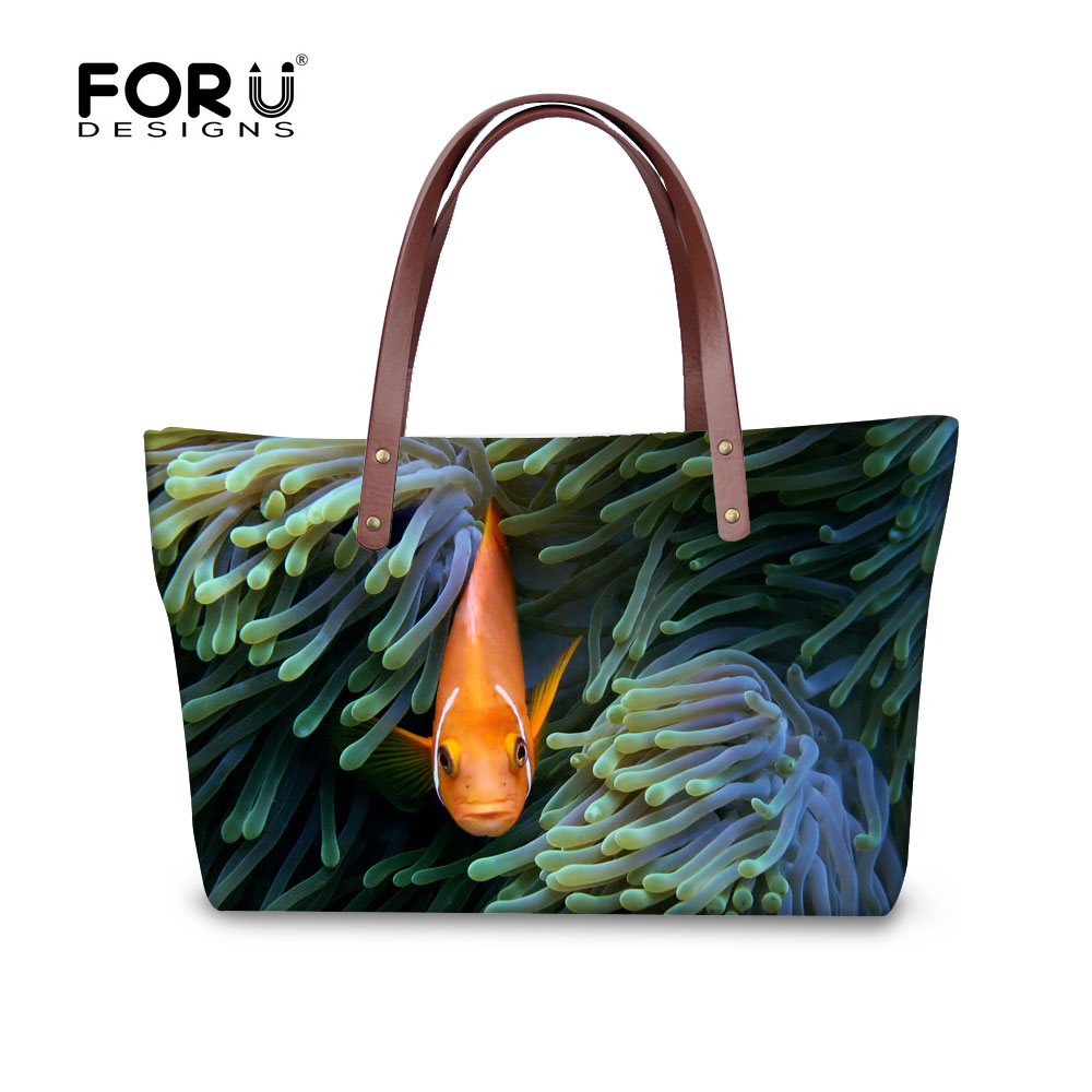 ФОТО FORUDESIGNS Large Capacity Women Handbag 3D Prints Woman Shoulder Bag Tropical Fish Cross Body Bag For Ladies Mujer Personalized