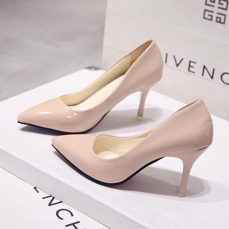 New Korean Fashion Versatile Pointed High Heels.