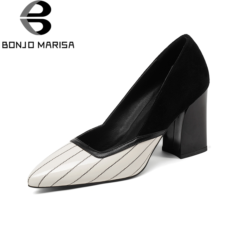 BONJNOMARISA 2018 Genuine Leather Pointed Toe Slip On Women Shoes Woman Square High Heels Red Office Lady Pumps Szie 34-39 2017 shoes women med heels tassel slip on women pumps solid round toe high quality loafers preppy style lady casual shoes 17