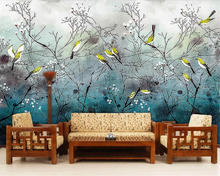 Beibehang Custom Wallpaper Hand Painted Birds Nostalgic Retro Living Room Bedroom TV Background 3d Wallpaper papel de parede beibehang nostalgic papel de parede retro imitation wooden wallpaper living room study tv background leisure bar background wall