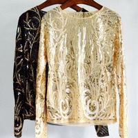 Women Fashion Sequined Lace Pullovers Blouse 2017 Autumn Long Sleeve Embroidery Beading Blouse Tops
