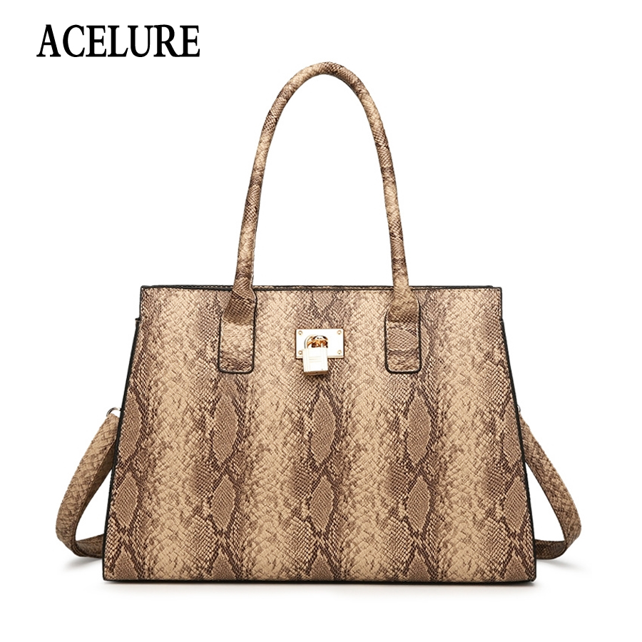 ACELURE Women PU Leather Shoulder Bag Snake Crossbody Bag for Women Handbags High Quality Ladies Handbags Messenger Bag Totes