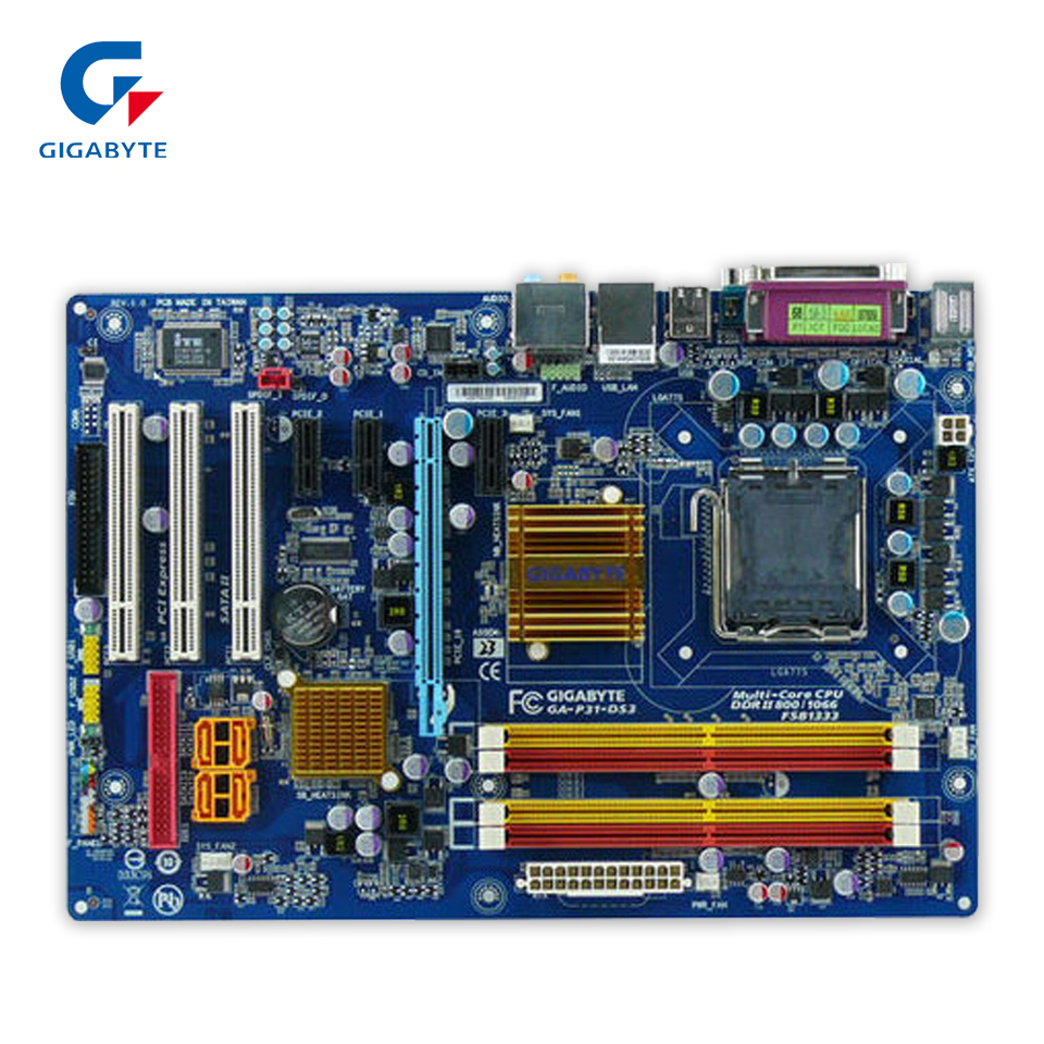 Gigabyte GA-P31-DS3 Original Used Desktop Motherboard P31-DS3 P31 LGA 775 DDR2 SATA2 ATX used motherboard mainboard for msi p31 neo2 lga 775 ddr2 usb2 0