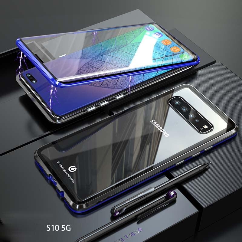 Luxe Magnetische Case 360 Voor + Back Dubbelzijdig 9 H Gehard Glas Screen Metal Bumper Cover Voor Samsung Galaxy S10 5g Ks0139 Rijk En Prachtig