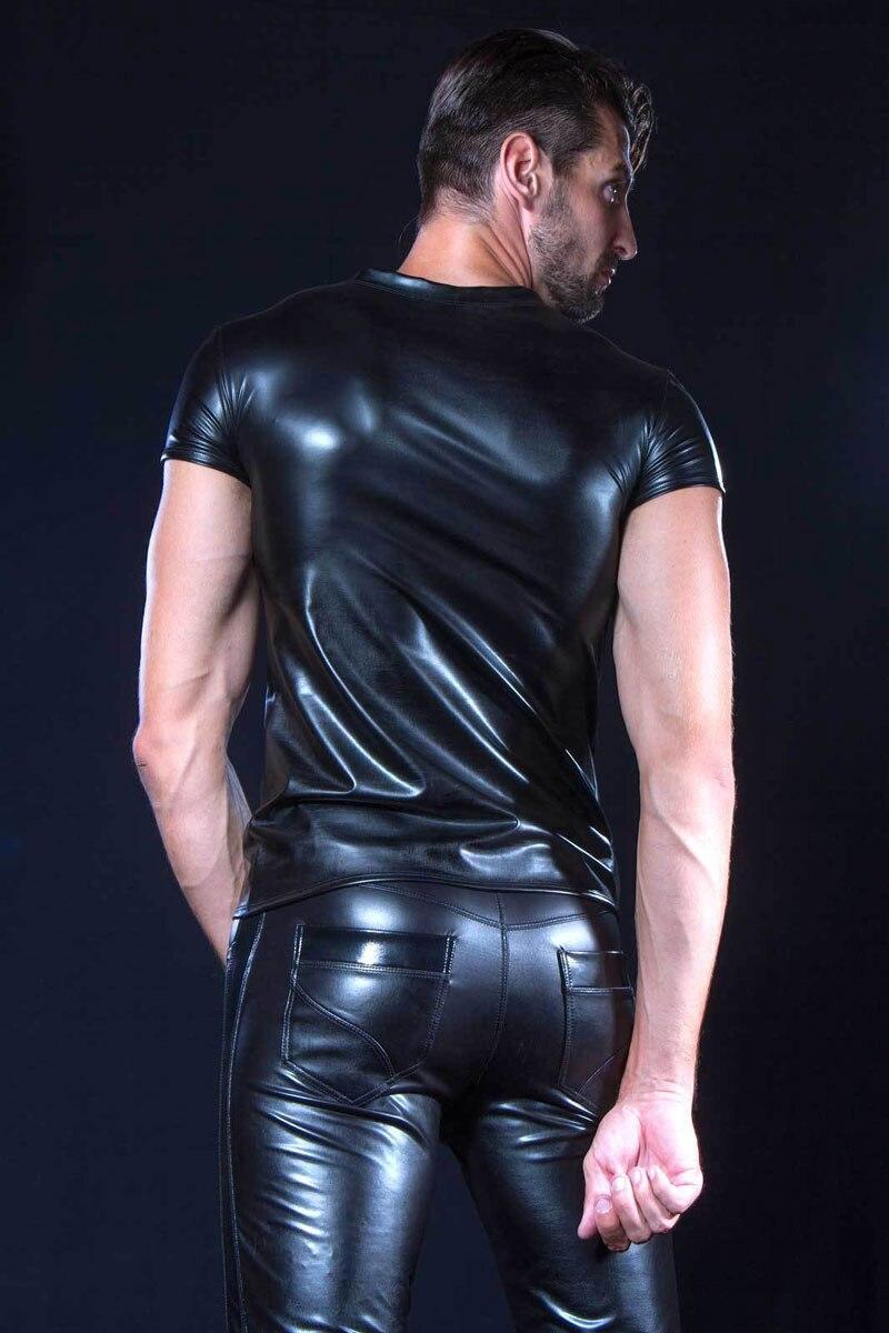 Bright Elastic Patent Leather Patchwork Pu Trousers Men Xxl Plus Size Shiny Pencil Pant Modern Moto Biker Liquid Pants Pvc Sexy Legging Men's Clothing Pants