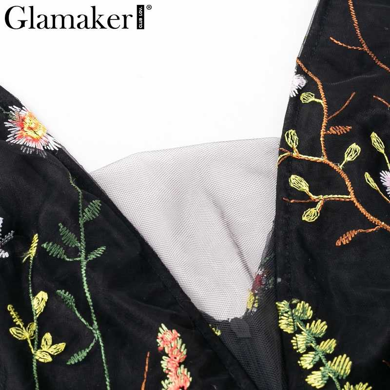 Glamaker floral Dress ... Glamaker Mesh vintage floral embroidery maxi dress Women summer  backless beach black dress Sexy v neck