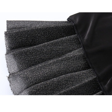 IUSGG 2017 Metal Color Silk Skirt Retro Fashion Metal Bright Silk Skirt Women Pleated Midi Skirt Big Swing Pleated Skirt