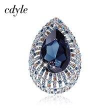 Cdyle lüks Vintage mavi kristal broş Rhinestone ile büyük su damlası broş Pin kadınlar için takı kış aksesuarları