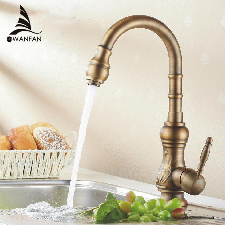 Free Shipping Antique Bronze Finish Kitchen Faucets Kitchen Tap Basin Faucets Single Handle Hot and Cold