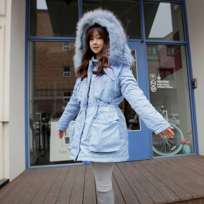 2015 Winter Women Parka Outerwear Duck Down Jacket With Large Fur Collar Plus Size Thickening Long Coat H5486