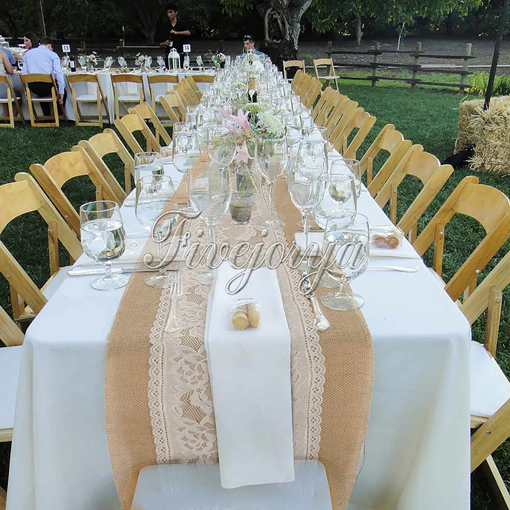 10PCS Rustic Wedding Decor Hessian Burlap Table Runner With Knitted Lace 275 x 30cm Tablecloth Banquet