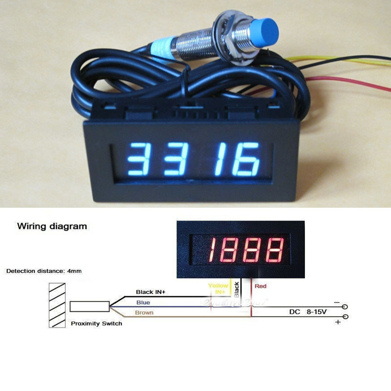 font b Digital b font blue LED Punch Tachometer RPM Speed Panel Meter 5 9999RPM