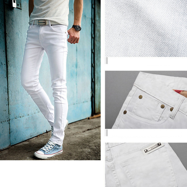 High Quality 2019 Fashion Slim Male White Jeans Men's trousers Mens Casual Pants Skinny Pencil Pants Boys Hip Hop pantalon homme