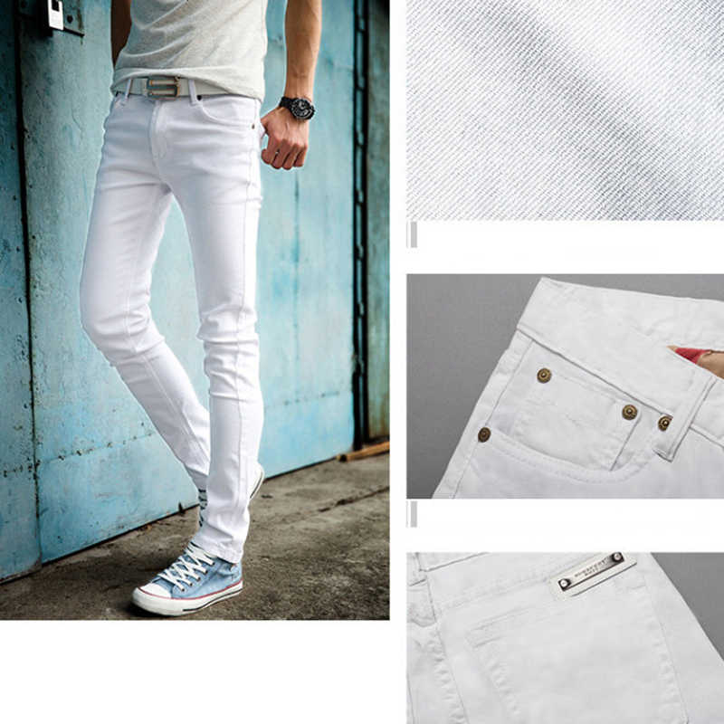 90c19bb4be3a ... High Quality 2019 Fashion Slim Male White Jeans Men s trousers Mens  Casual Pants Skinny Pencil Pants ...
