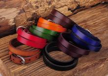 G557 Lot 8PC Biker Rock Classic Double Wrap Leather Cowhide Buckle Bracelet Cuff New